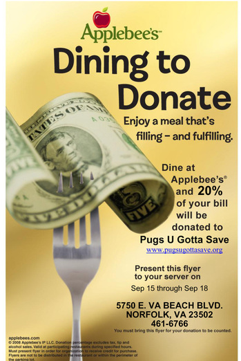 Applebee's Neighborhood Grill and Bar Dining to Donate to PUGS
